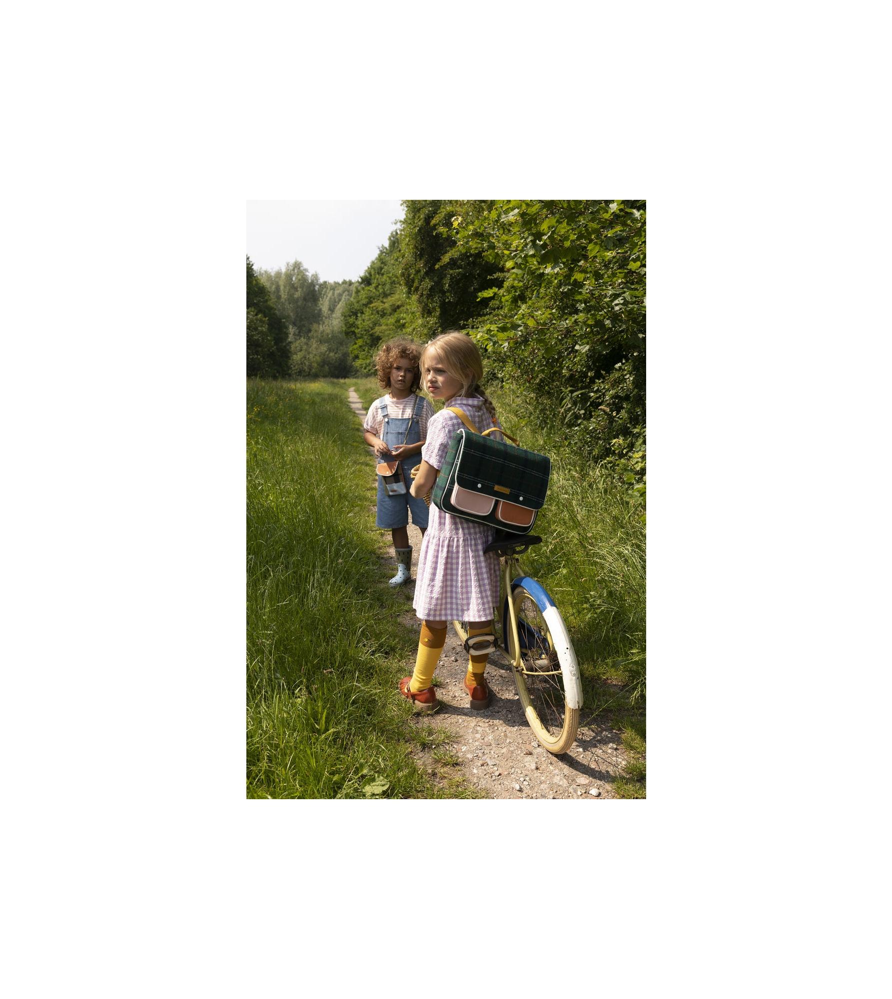 1801675 - Sticky Lemon - school bag - wanderer - forest green checks - style shot 01.jpg