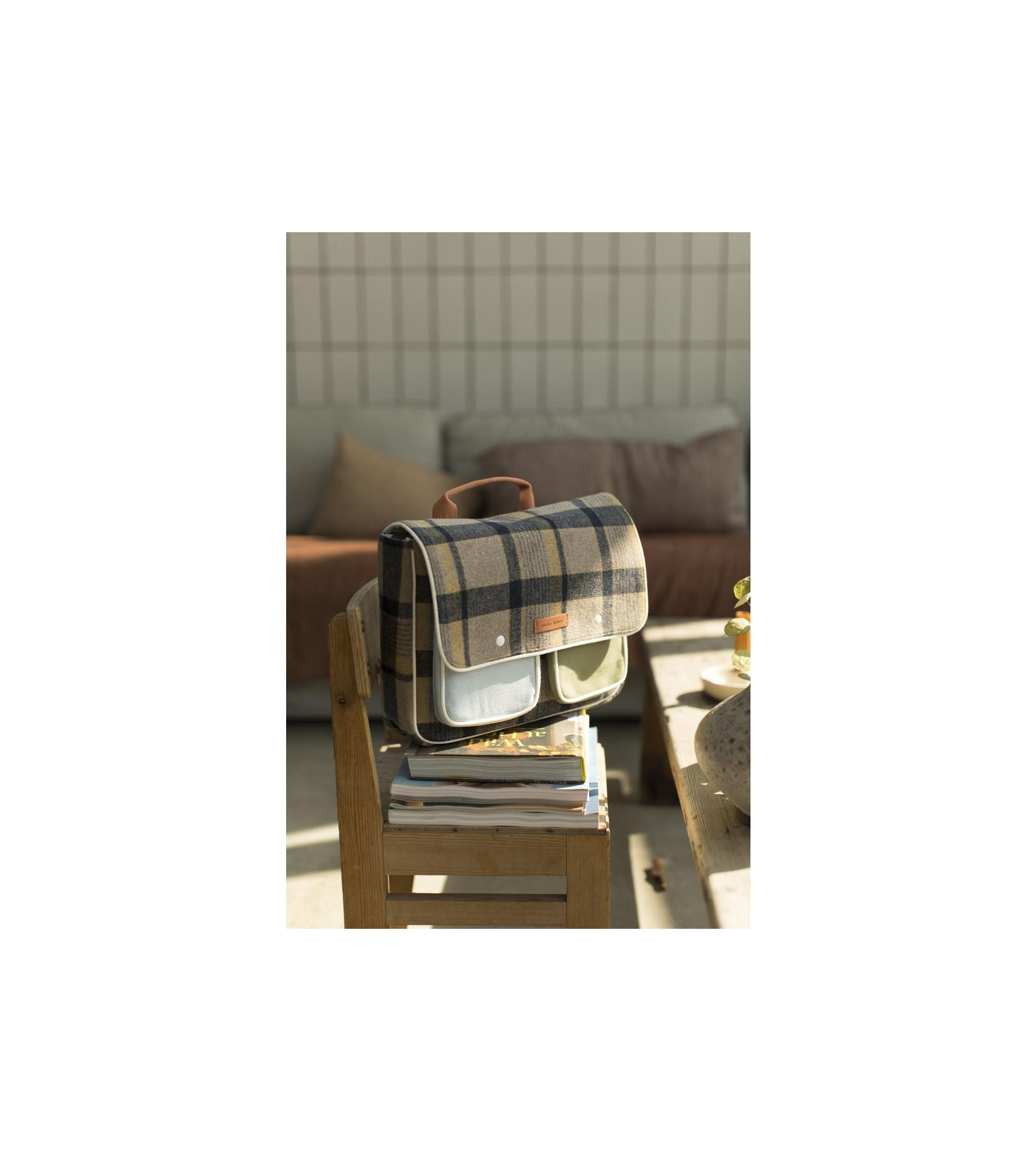 1801676 - Sticky Lemon - school bag - wanderer - sandy beige checks - style shot 01.jpg