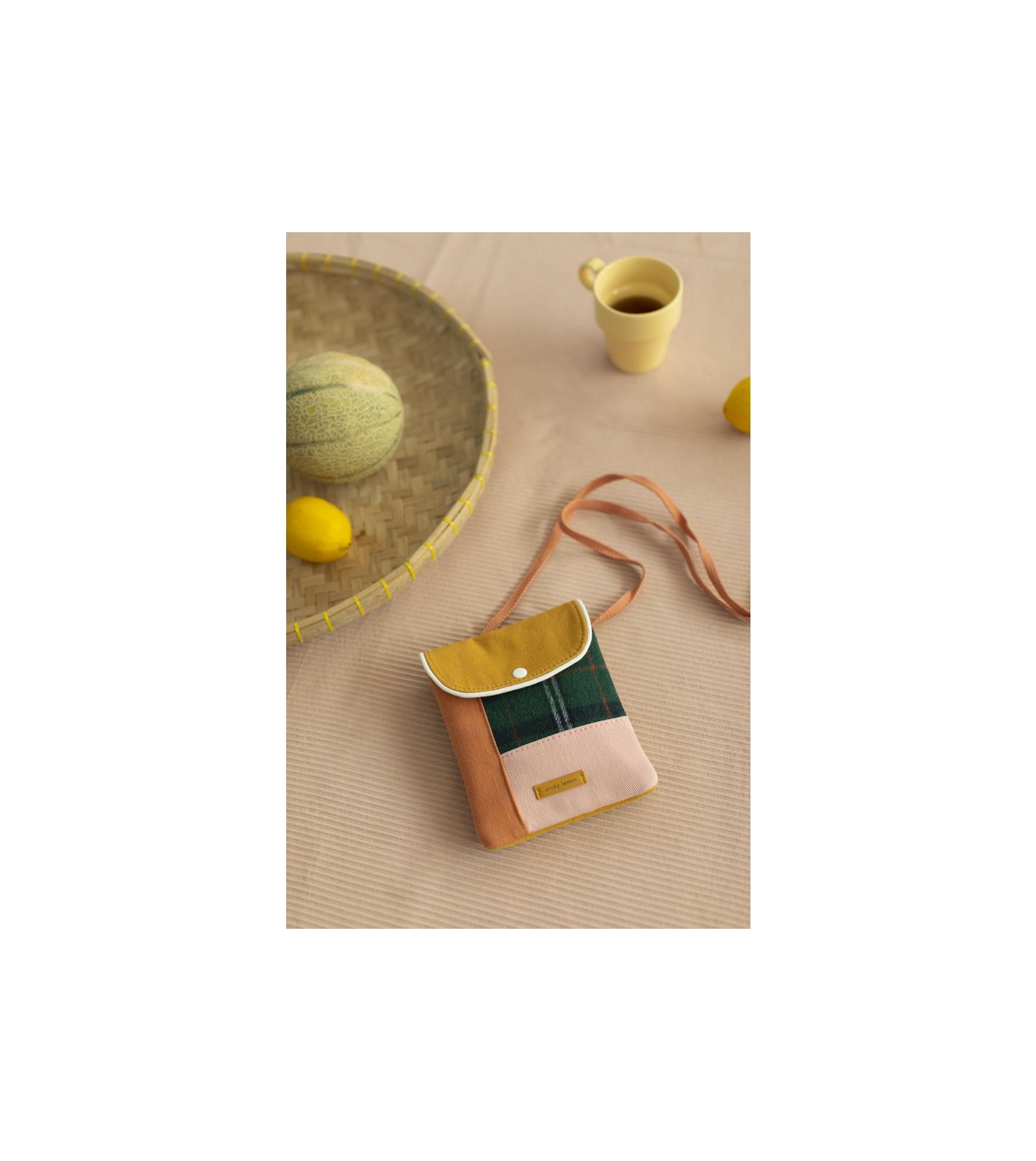 1801678 - Sticky Lemon - wallet bag - wanderer - forest green checks - style shot 03.jpg