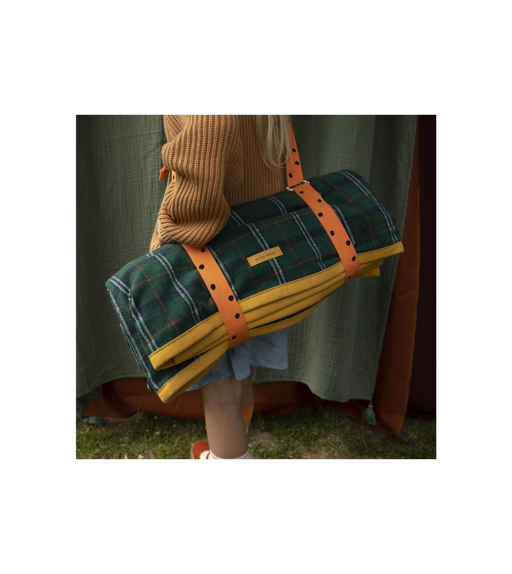 1801769 - Sticky Lemon - picnic blanket - wanderer - forest green checks - style shot 02.jpg