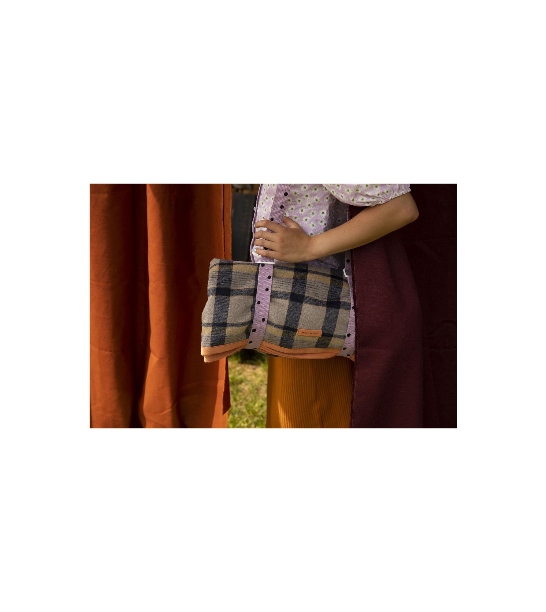 1801770 - Sticky Lemon - picnic blanket - wanderer - sandy beige checks - style shot 02.jpg