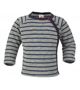 Meriinofrotee sviiter küljetrukkidega / halli-sinisetriibuline