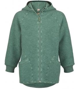 Engel Natur kapuutsiga vanutatud meriinovillast jakk / roheline