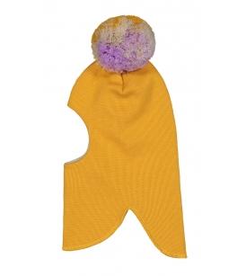 Mainio meriinovillane tutiga tuukrimüts / kollane