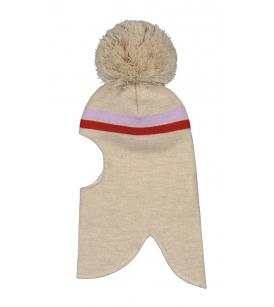 Mainio meriinovillane tutiga tuukrimüts / triibuline kaerakarva